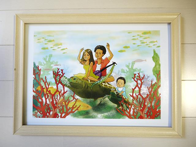 沖縄の海をイメージしたイラストの贈り物